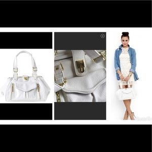 Olivia+Joy White Faux Leather Mademoiselle Satchel